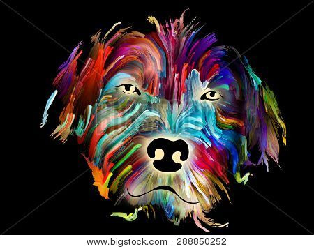 Dog portrait painting in digital bright colors on black background on subject of love, friendship, faithfulness, companionship between dog and man. God bless animals series. poster