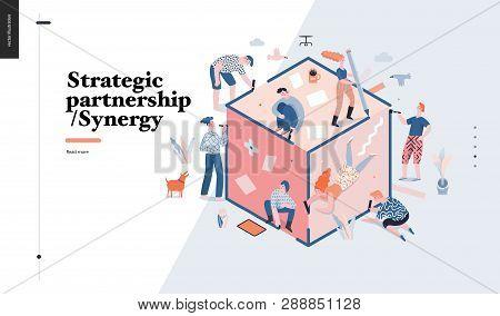 Technology 3 -strategic Partership - Synergy Flat Vector Concept Digital Illustration Partnership An