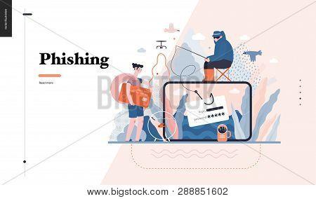 Technology 3 - Phishing - Flat Vector Concept Digital Illustration Of Phishing Scam Metaphor. Hacker