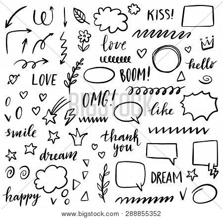 Doodle Hand Drawn Set With Speech Bubbles, Arrows, Floral Elements, Stars, Hearts, Strokes, Clouds,