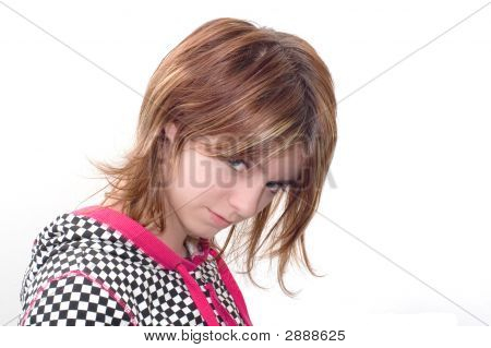 Portrait of unruly young woman isolated on white poster