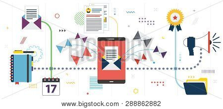 Business Communication And Email Marketing. App Inbox, Send Or Receive Email In Smartphone .template