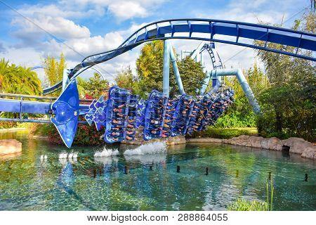 Orlando, Florida. March 09 2019.  People Enjoying Manta Ray Rollercoaster At Seaworld In Internation