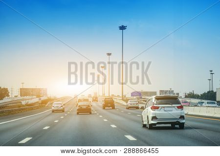 Car Driving On Highway  Road,car Parked On Road And Small Passenger Car Seat On The Road Used For Da