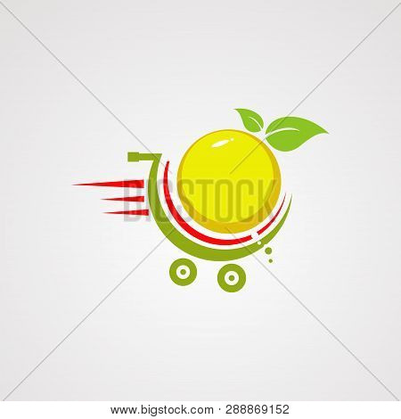 Fast Orange Fruit On Trolly Logo Vector, Icon, Element, And Template For Company