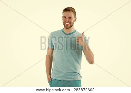 Man Cheerful Shows Thumbs Up As Symbol Of Recommendation Isolated White Background. Man Happy Cheerf