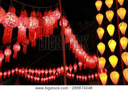 Red And Yellow Lanna Lantern Lamp In Loy Kratong Festival, Or Call Yee Peng Festival At Northern Of