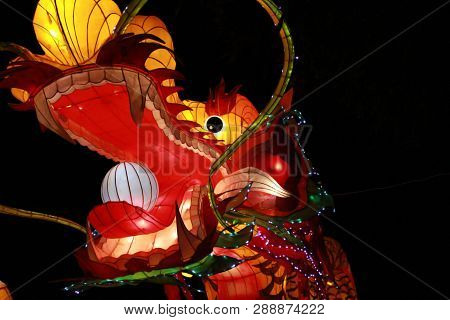 Chinese Dragon Lantern Lamp In Loy Kratong Festival, Or Call Yee Peng Festival At Northern Of Thaila