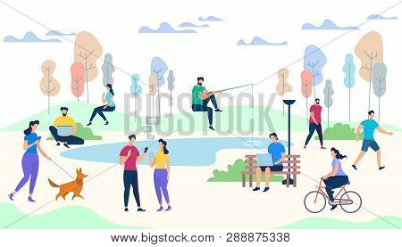 Crowd Of People Performing Summer Outdoor Activities. Walking Dogs, Riding Bicycle, Fishing, Meet Fr