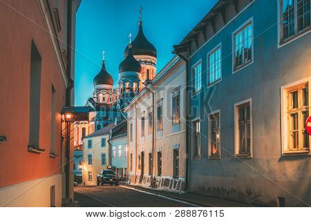 Tallinn, Estonia. Evening Or Night View Of Alexander Nevsky Cathedral From Piiskopi Street. Orthodox