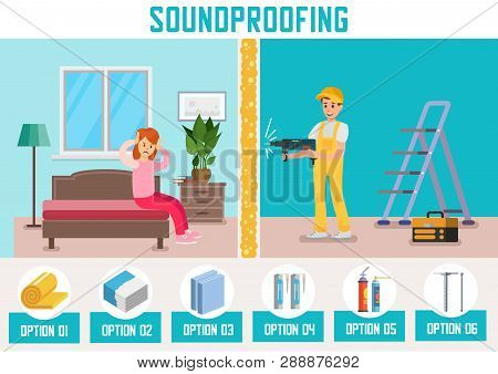 Building Materials For Room Walls Soundproofing Flat Vector Ad Banner Template With House Repair Ser