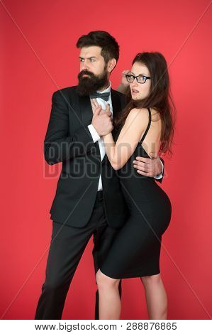 Esthete. Romantic Relationship. Art Experts Of Bearded Man And Woman. Formal Couple Date. Couple In