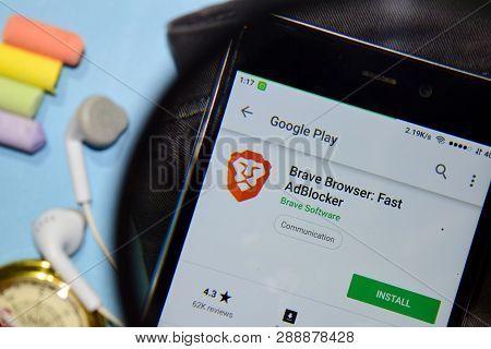 Bekasi, West Java, Indonesia. March 12, 2019 : Brave Browser: Fast Adblocker Dev App With Magnifying