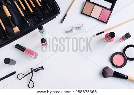 Woman Cosmetics, Brush And Make Up On White Background, Top View