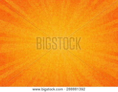Abstract Sun Burst Orange Color Circle Pattern Texture Design Background. You Can Use For Sales Post