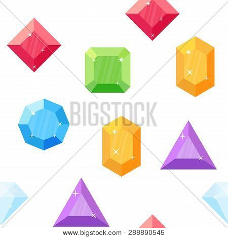 Diamonds In Various Shapes. Seamless Pattern. Colored Gems. Gemstone Vector. Set Of Crystals And Min