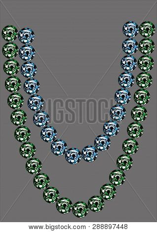 A sample of beads from sapphires and emeralds on a gray background. Natural blue and green stones pattern. Vector graphics, illustration of products from rare gems, blue sapphires, green emeralds. poster