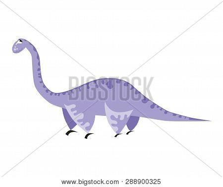 Cute Light Purple Dinosaur. Cartoon Dino. Vector Illustration. Brachiosaurus