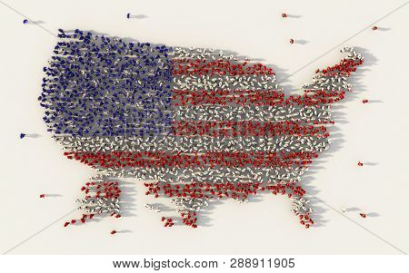 Large Group Of People Forming Usa Or The United States Of America Flag Map In Social Media And Commu
