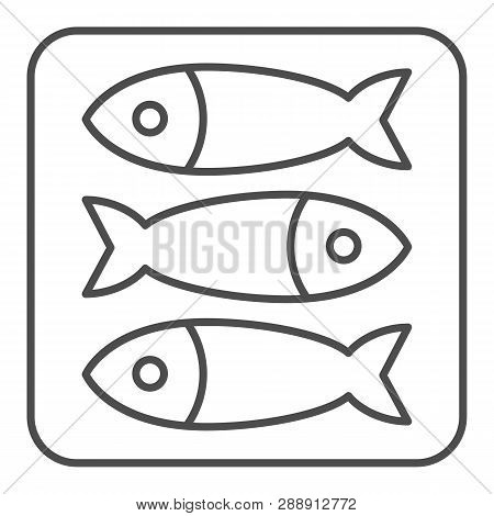 Sprat Fish Thin Line Icon. Food Vector Illustration Isolated On White. Seafood Outline Style Design,