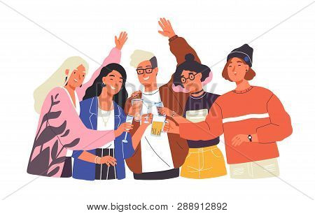 Group Of Happy Boys And Girls Clinking Glasses And Drinking Alcohol At Celebratory Party. Portrait O