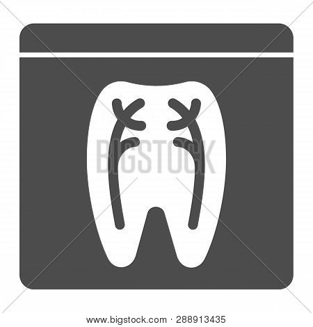 Dental Xray Solid Icon. Tooth Xray Vector Illustration Isolated On White. Orthodontic Roentgen Glyph