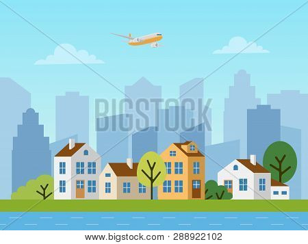 City Urban Vector Landscape, Cottages And Skyscrapers
