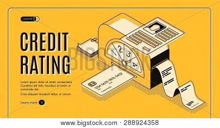 Credit Rating Analytics, Scoring Online Service Isometric Vector Web Banner. Banking Card In Calcula