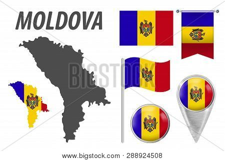 Moldova. Collection Of Symbols In Colors National Flag On Various Objects Isolated On White Backgrou