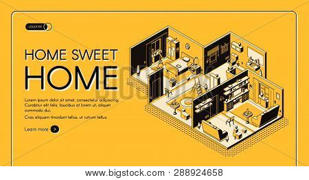 House Construction Company Dwelling Place Configuration Service Isometric Vector Web Banner. Residen