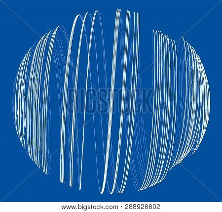 Sphere Of Spirals Outline. Vector Rendering Of 3d. Wire-frame Style. The Layers Of Visible And Invis