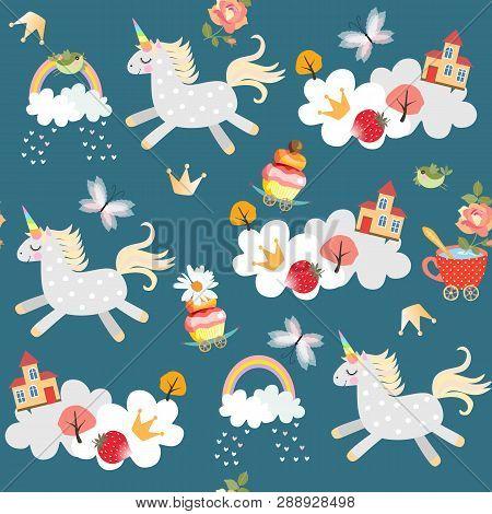 Endless Pattern Witn Cute Unicorns Frolicking In The Sky. Clouds, Rainbow, Birds, Butterflies, Castl