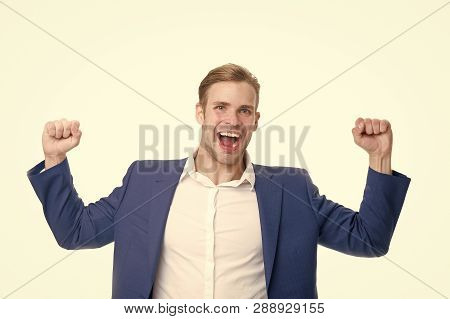Guy Formal Clothes Shouting And Celebrating Success. Businessman Happy Emotional Face Excited About