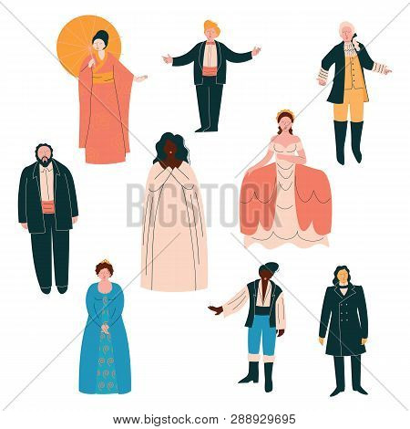 Opera Singers Set, Male And Female Singers In Elegant Clothing Performing On Stage Vector Illustrati