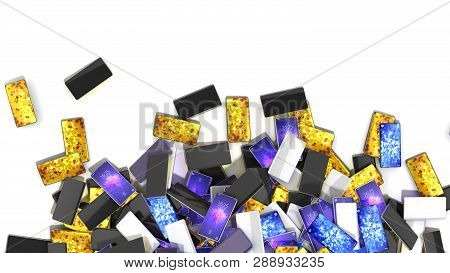 Heap Of Smart Phones Isolated On White Background With Place For Your Text 3d Render Illustration