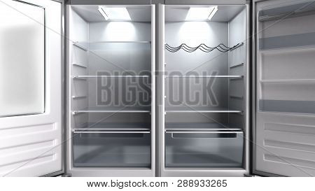 Empty Open Stainless Steel Modern Refrigerator 3d Illustration