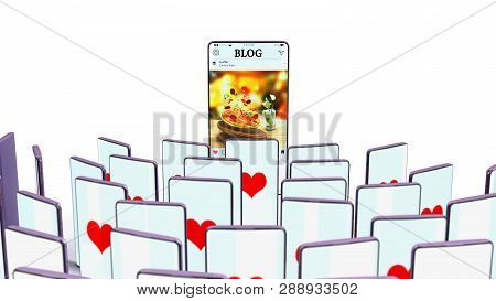 Successful Blog Concept Full Screen Phones Of Viewers With Likes Look At The Phone Of A Blogger 3d R