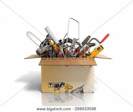Concept Of Product Categories Construction Tool In The Box On White Background