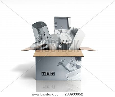 Concept Of Product Categories Sanitary Engineering In The Box On White Background