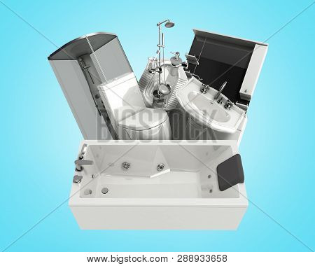 Concept Of Product Categories Sanitary Engineering On Blue Background