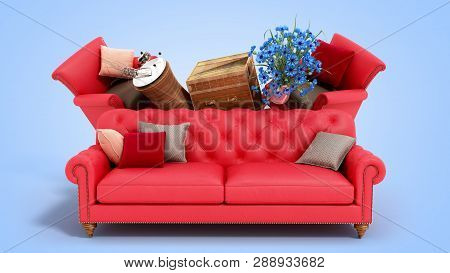 Concept Of Product Categories Furniture And Decor On Blue Background