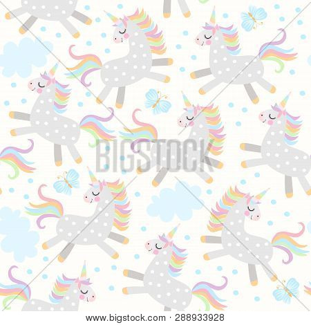 Delicate Seamless Pattern With Light Grey Little Unicorns Frolicking In The Sky, Blue Butterflies An