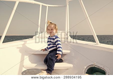 Kid Concept. Little Kid Travel On Ship. Kid Enjoy Sea Travelling. Kid On Board. Summer Vacation And