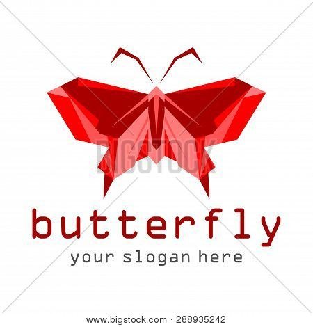 Red Butterfly Icon Isolated On White Background.colorful Butterfly. Butterfly Icon In Trendy Design