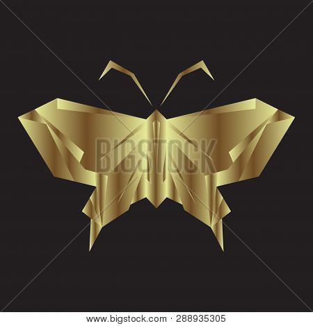Gold Butterfly,butterfly Icon Isolated On Black Background.colorful Butterfly. Butterfly Icon In Tre