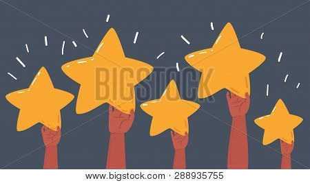 Vector Cartoon Illustration Hand Drawing Set Of Hands Is Holding Stars. Rating, Rank, Winning, Appro