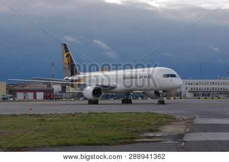 BUDAPEST, HUNGARY - DECEMBER 1, 2015: UPS Boeing 757 cargo plane at Budapest Liszt Ferenc International Airport