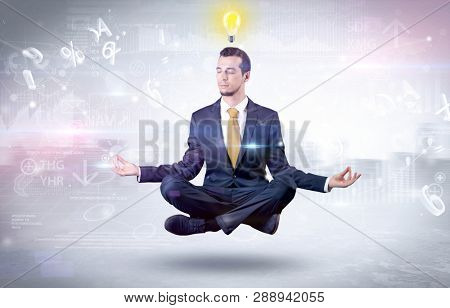 Businessman meditates with enlightenment data reports and financial concept poster