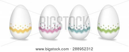 Paint Patterned Easter Eggs Isolated On White Background. Color Drawing Egg Set