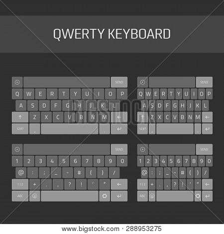 Qwerty Keyboard Full Set. Keyboard Of Smartphone, Alphabet And Numbers Buttons. Mobile Phone Keypad